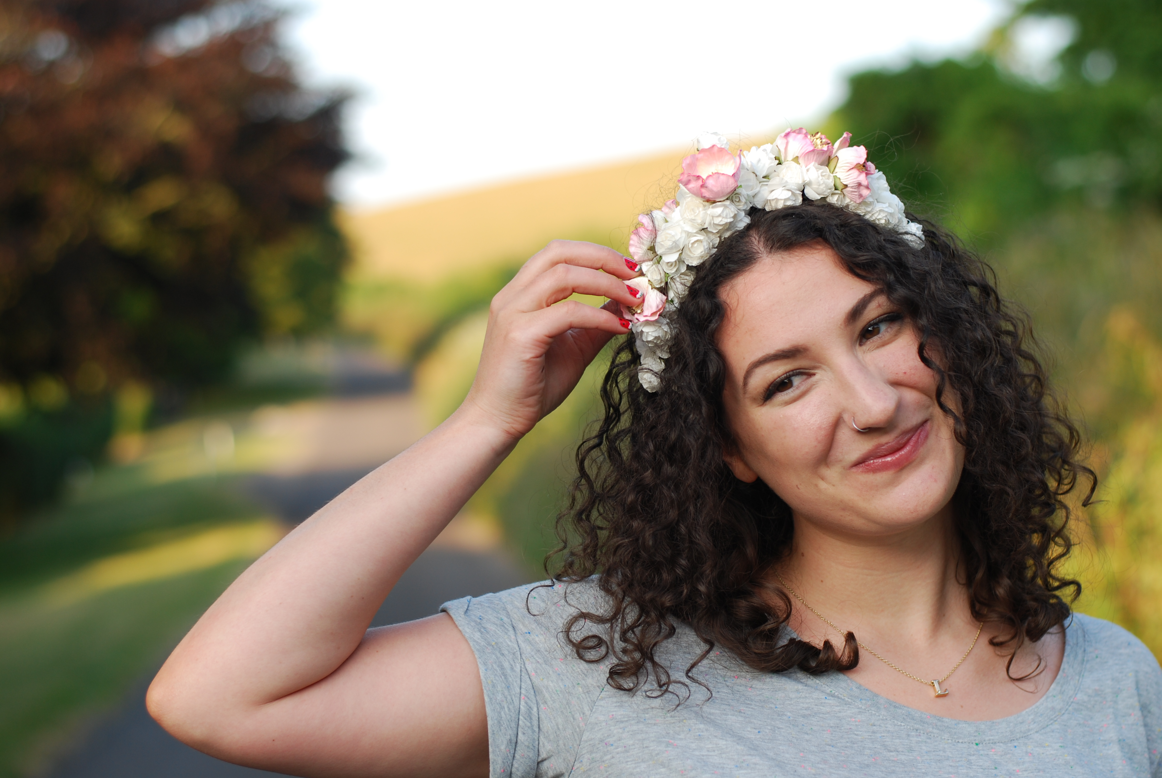 chambray and curls curly hair floral crown smiling girl