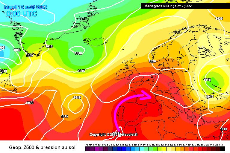 carte de situation lors du record absolu de chaleur en France continentale le 12 août 2003 météopassion
