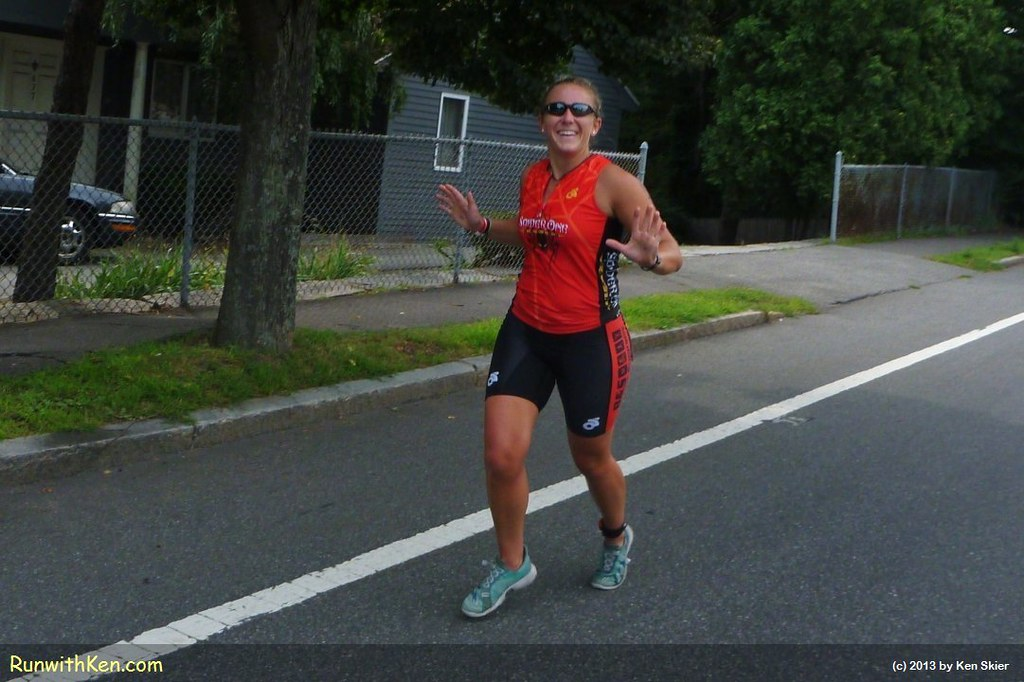 As she nears the finish line, this triathlete looks ready to swim, bike, and run the course AGAIN!  At the Witch City Triathlon in Salem, MA. by runwithken