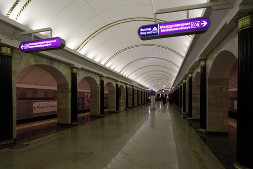 Bilingual signage in Russian and English on the Saint Petersburg Metro
