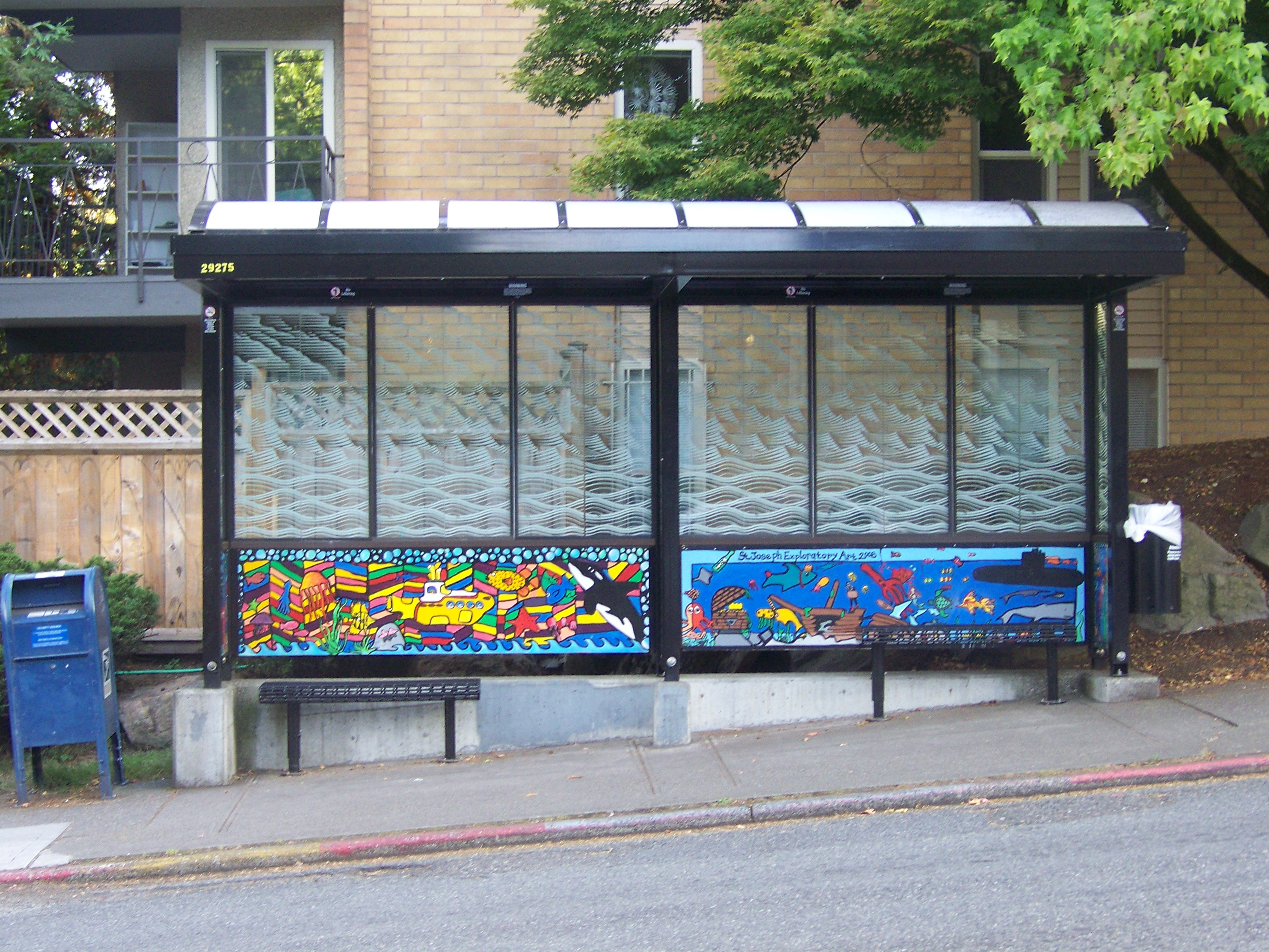 Capitol Hill, Seattle bus shelter with local art, King County Metro transit