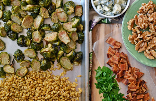 Brussels sprouts, kamut, bacon, walnuts, and blue cheese