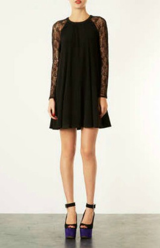 LACE-SLEEVE-SWING-DRESS