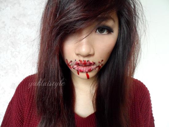 halloween sewn mouth makeup look