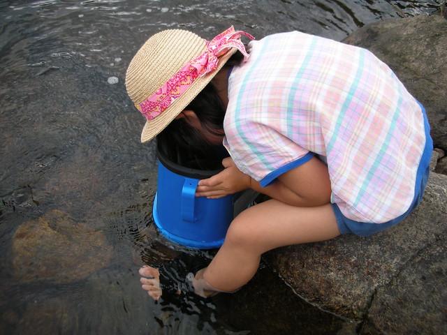 最年少の参加者.箱めがねで魚を探し,「いたよー」と教えてくれた.