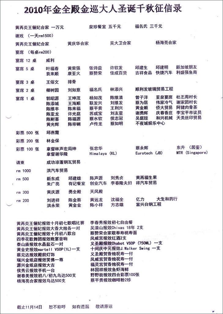 2010金全殿金顺大人圣诞千秋征信录