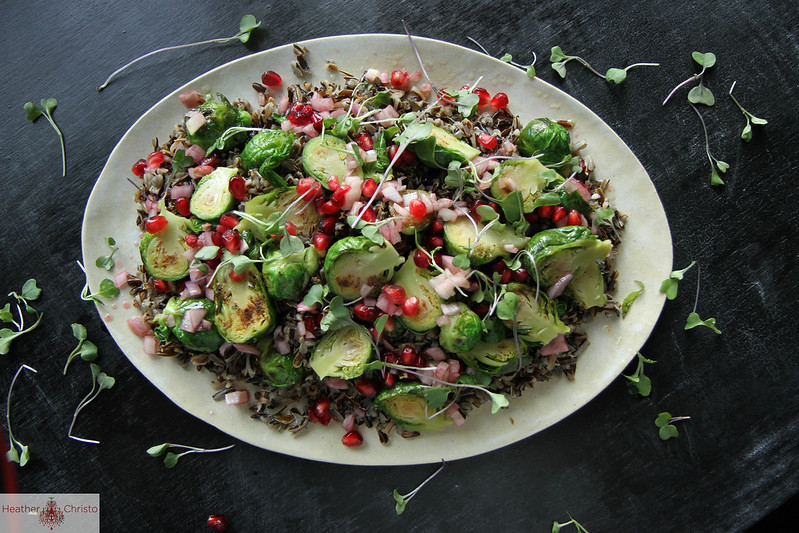 Wild Rice Salad with Brussels Sprouts and Pomegranate Vinaigrette