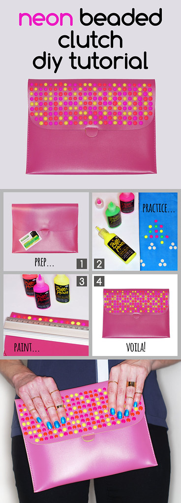 Proenza Schouler Inspired Neon Beaded Clutch DIY Tutorial