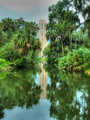 park trees usa reflection tower architecture america garden landscape unitedstates florida places belltower panasonic belfry artdeco botanicalgarden hdr highdynamicrange hdri carillon gothicrevival boktower lakewales boktowergardens riverlake highdynamicrangeimaging singingtower miltonbmedary panasonicdmcfz38 dmcfz38 miltonbennettmedary bokmountainlakesanctuaryandsingingtower