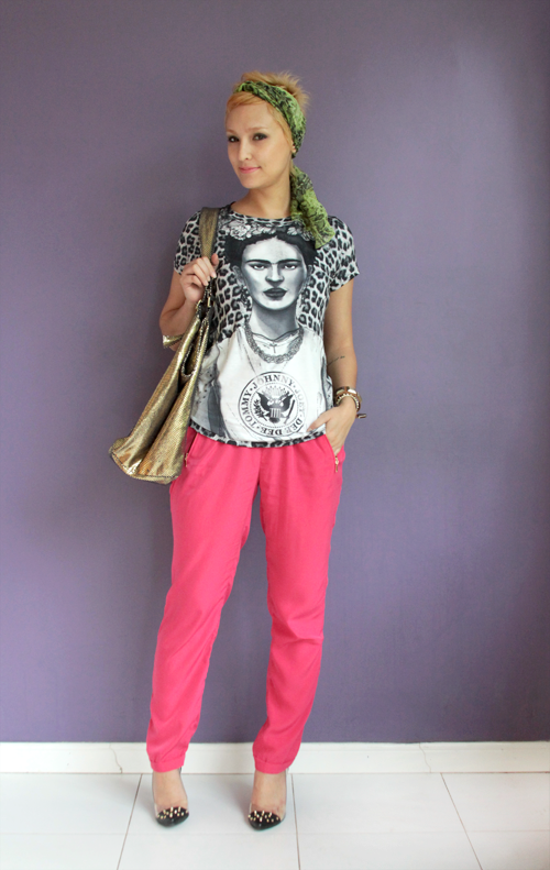 Look do dia: Frifa Kahlo, calça pija a e turbante