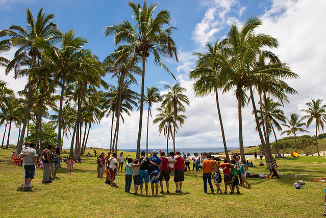 Anakena Beach in a festive day