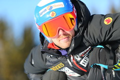 Dustin Cook prepares for a training run in Lake Louise, CAN