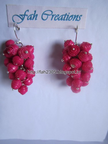 Handmade Jewelry - Paper Bead Grapes Earrings (Pink) by fah2305