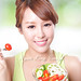 attractive woman smile eating salad