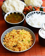 tomato bhat, rasam, gobi 65