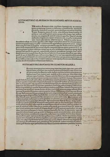 Incipit title in Justinus, Marcus Junianus: Epitomae in Trogi Pompeii historias