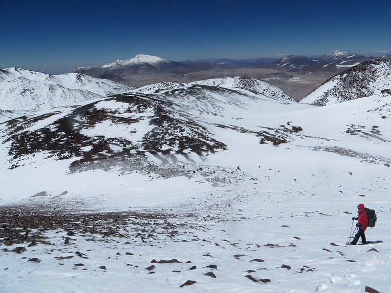 Descending from the Principal CAM summit (6800m) of Pissis