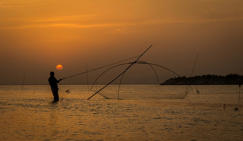 Silhouette fishing