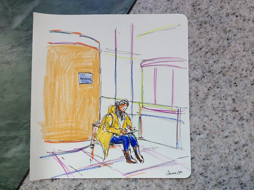 Sketcher at MoleskineStories event, Time Warner Center, New York City