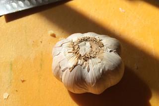 Eggplant Chinese Sausage - garlic prep