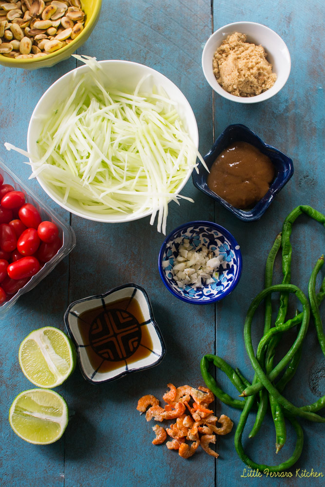 "A delicious full flavored Thai green papaya salad aka ""som tum"" with various flavors of hot, salty, sweet and sour for the perfect balance and bite."