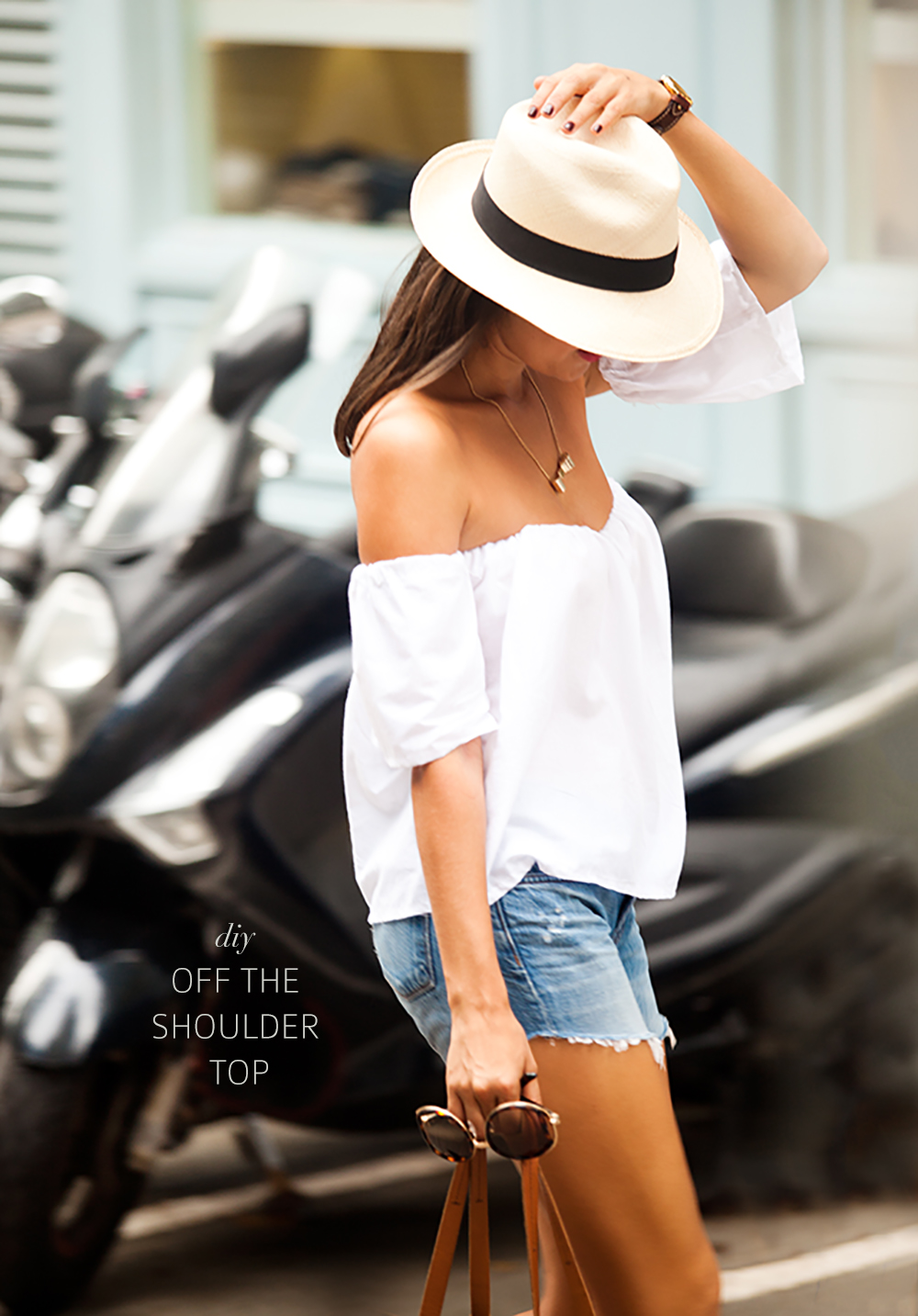 Make a simple summer off the shoulder top www.apairandasparediy.com