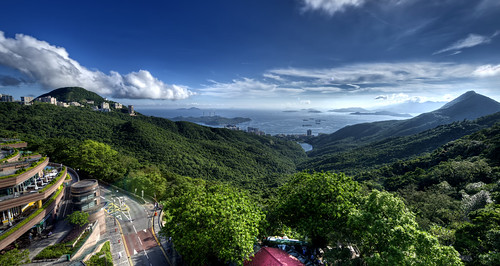 china sea sky haven mountains green hongkong islands asia paradise sunny hills lush victoriapeak nikond800