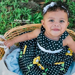 A baby in s basket.    Rosemarie is so adorable in her polka dot dress.  #babyinabasket #6months #growing #baby #lakeland #florida #ldephotography #portrait