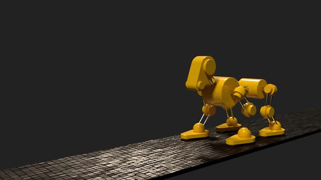 Yellow robot dog animation in blender