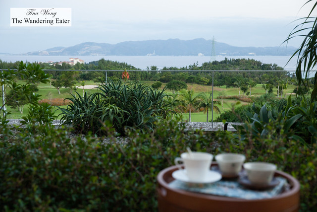 Looking out to the sea, mountains and golf course from my room's patio