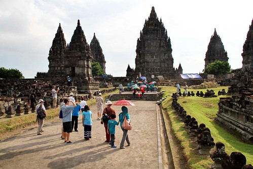 tourists at Prambanan Temple in Indonesia