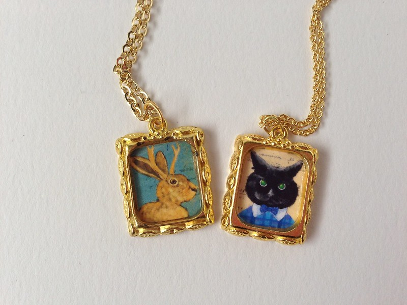 Jackalope & Cat Portrait necklace