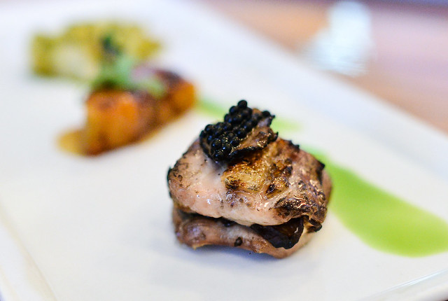 ROASTED CHICKEN THIGH layered with truffles, shiitake mushrooms and kabocha