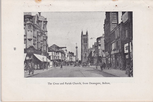 The Cross and Parish Church from Deansgate, Bolton, Lancashire, c1948
