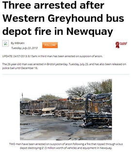 Three arrested after Western Greyhound bus depot fire in Newquay   Cornish Guardian
