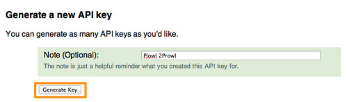 Prowl - API Keys