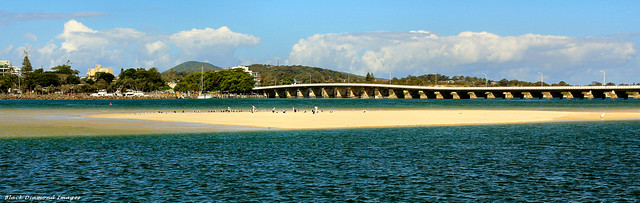 Wallis Lake Bridge, Cape Hawke Harbour from Tuncurry Breakwall, Tuncurry, NSW