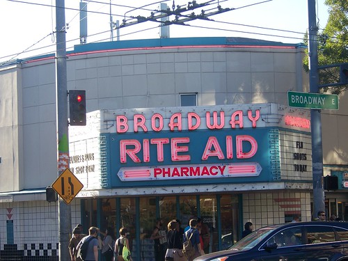 Broadway Rite Aid, Seattle, using the old movie theater marquee