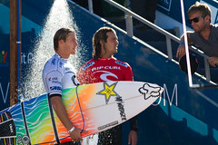 Bede Durbidge and Jordy Smith talk shop.