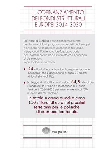 Il cofinanziamento dei fondi strutturali europei 2014-2020