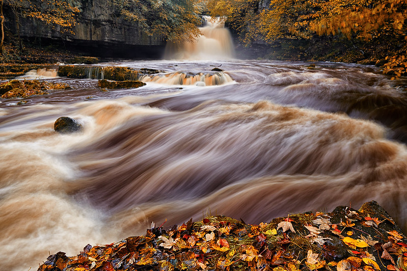 West Burton Falls In Spate