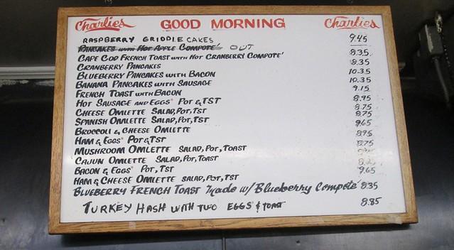 charlie's menu