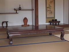 sideboard(0.0), studio couch(0.0), desk(0.0), floor(1.0), shelving(1.0), shelf(1.0), furniture(1.0), wood(1.0), coffee table(1.0), laminate flooring(1.0), table(1.0), hardwood(1.0),