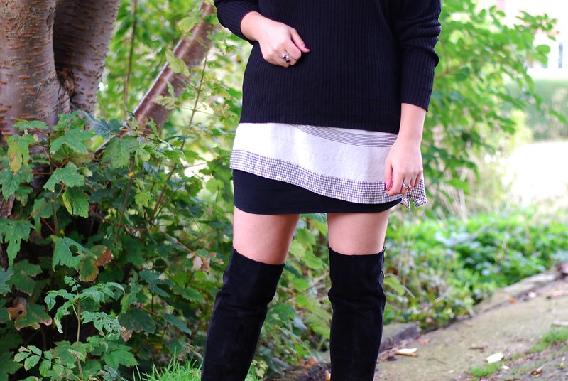 chambray and curls ribbed black jumper loose layers and thigh high boots