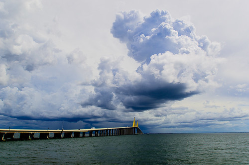 Storm front rolling across the Sunshine Skyway Bridge from the East, heading out toward the Gulf of Mexico