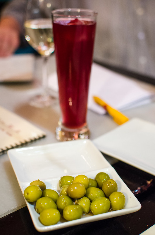 Delightful olives and a Tinto al Limon at Vinería San Telmo in Sevilla, Spain.