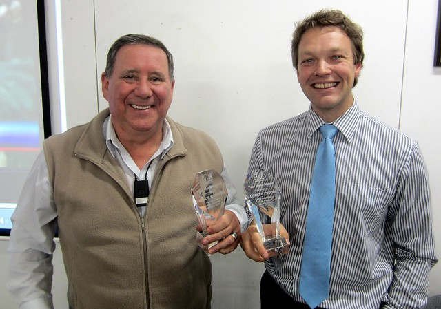 Trevor Carroll and Darren Peters of the South Morang and Mernda Rail Alliance, accepting the inaugural Paul Mees Award