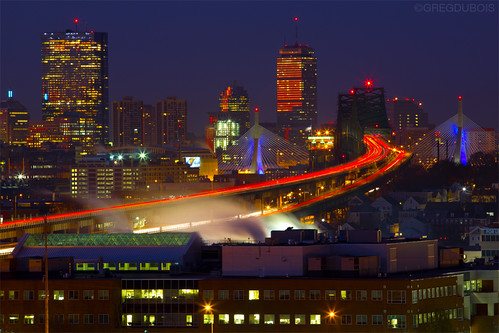 Light Trails over Tobin Bridge and Sunrise Reflecting off Boston Skyline with Zakim Bridge, Chelsea MA