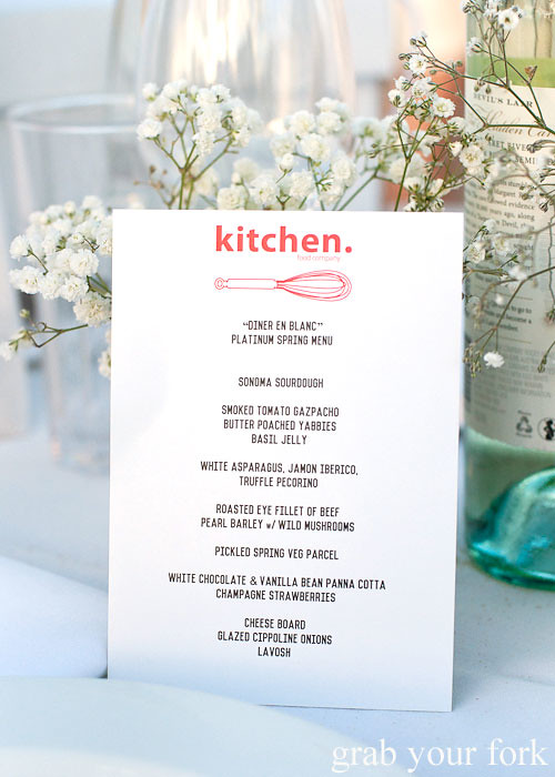Platinum spring menu by Kitchen Food Company at Diner en Blanc Sydney 2013 Bondi Beach