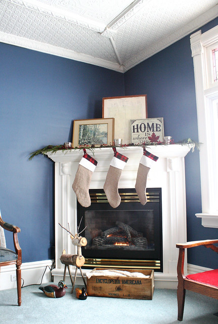 cottage christmas fireplace mantle